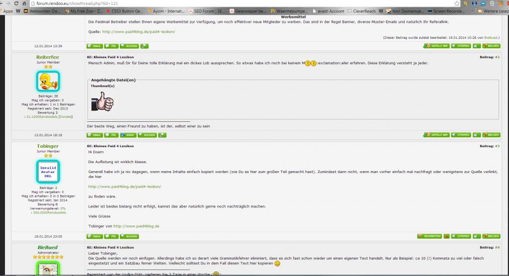 rendoo screen antworten ohne tabs