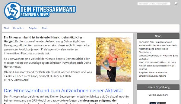Dein Fitnessarmband Startseite Screen