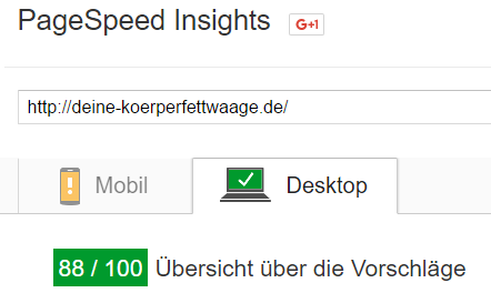 google pagespeed koerperfettwaage desktop